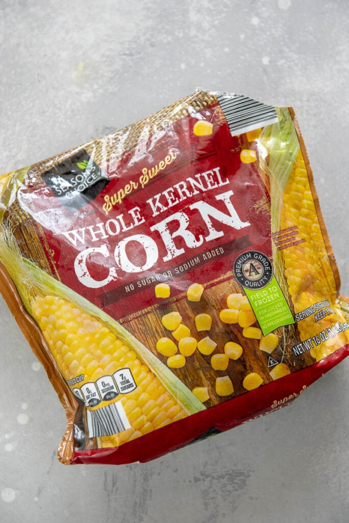bag of frozen sweet corn