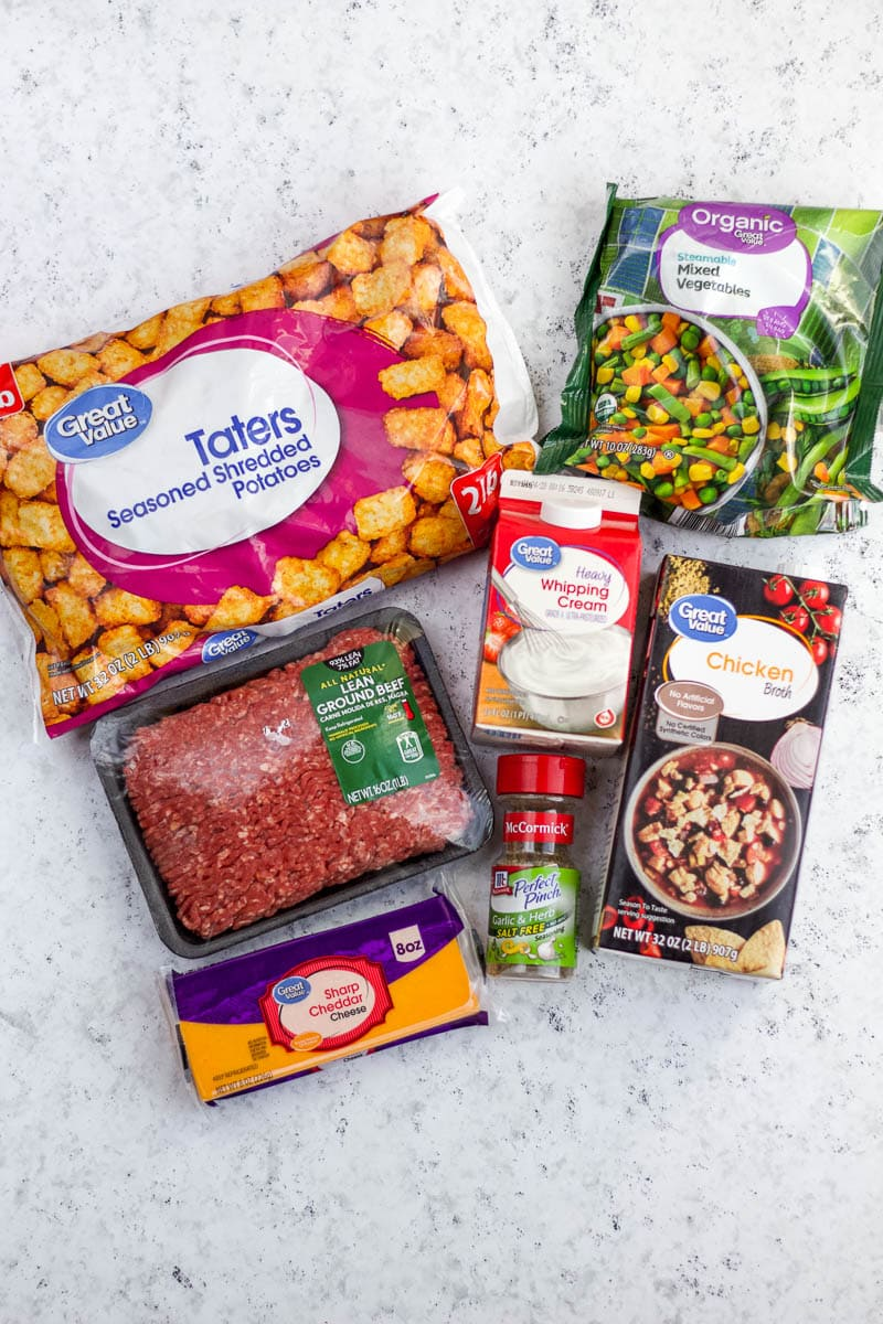 ingredients for slow cooker tater tot casserole