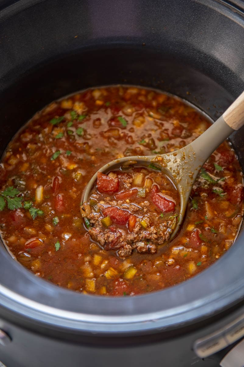 bison chili in a slow cooker
