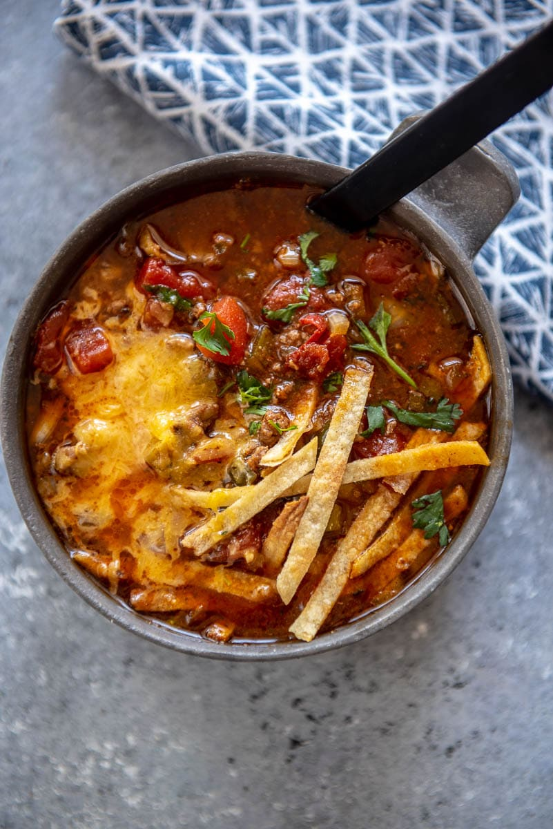 bison chili in a bowl