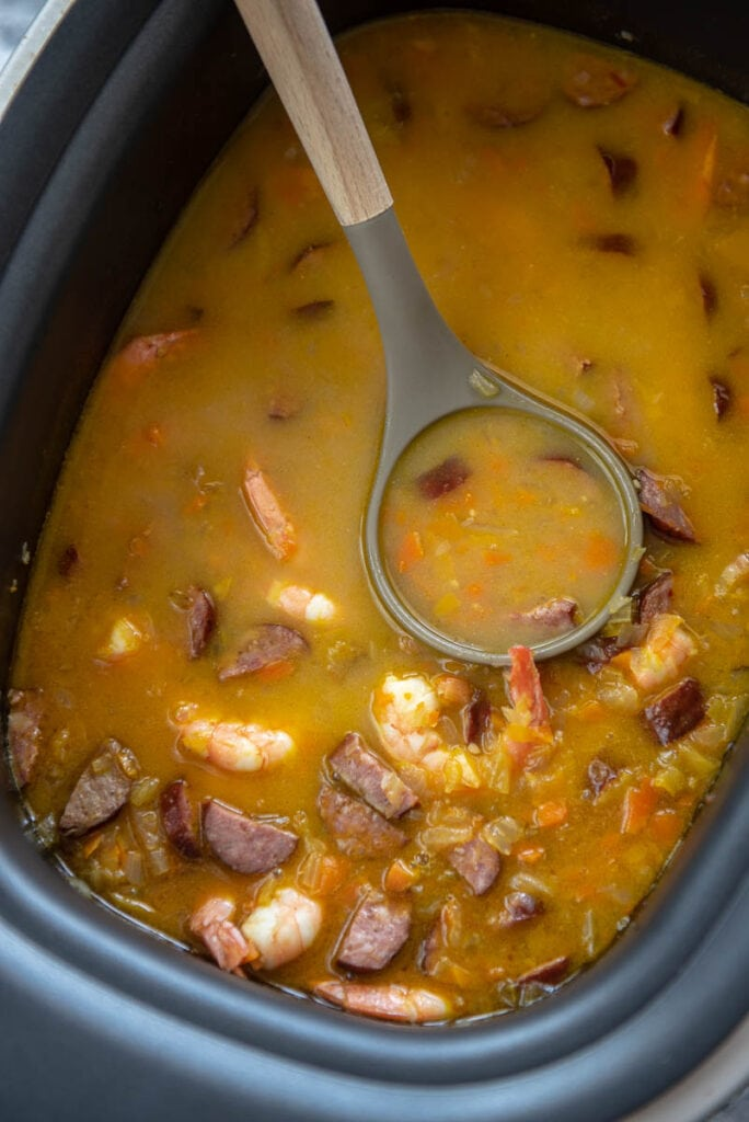 shrimp and sausage gumbo in rectangle slow cooker
