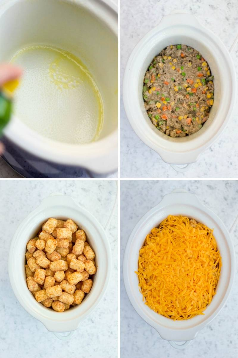 process for making slow cooker tater tot casserole
