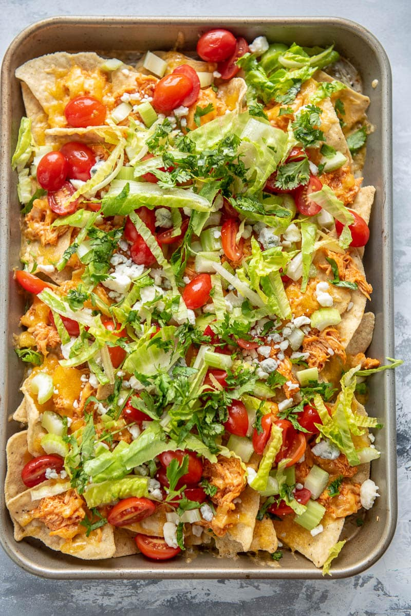 buffalo chicken nachos with blue cheese crumbles