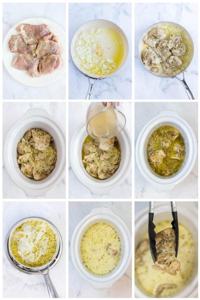 step by step making chicken thighs in the slow cooker