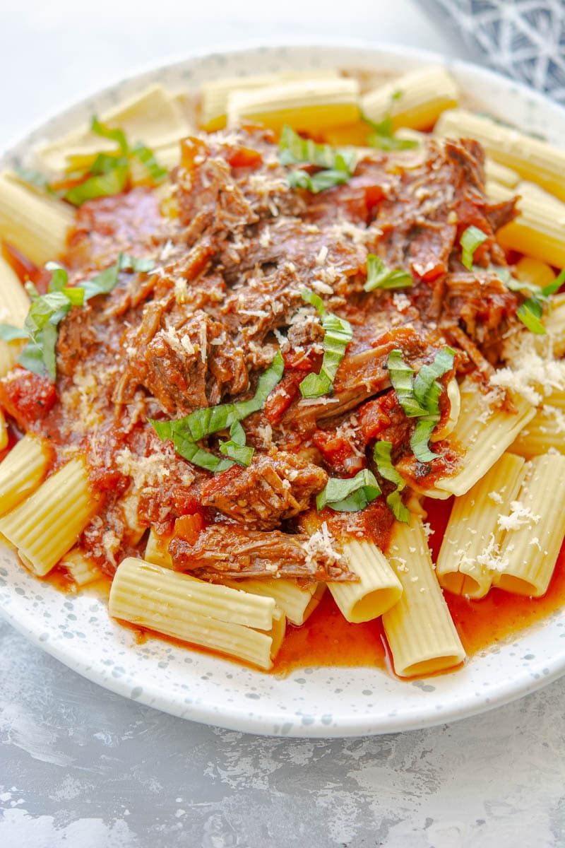 Beef Ragu on a white plate
