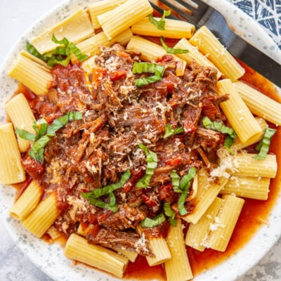 beef ragu on a white plate with a fork