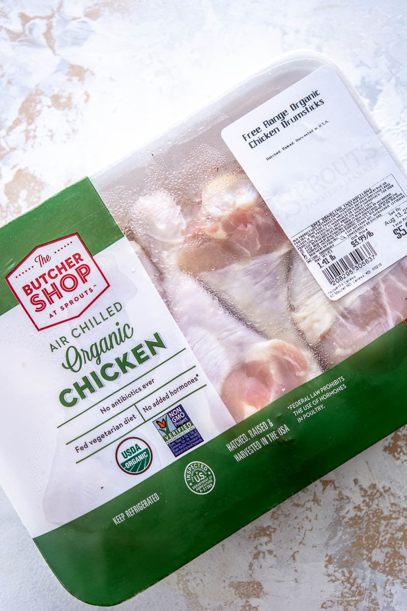 package of raw chicken
