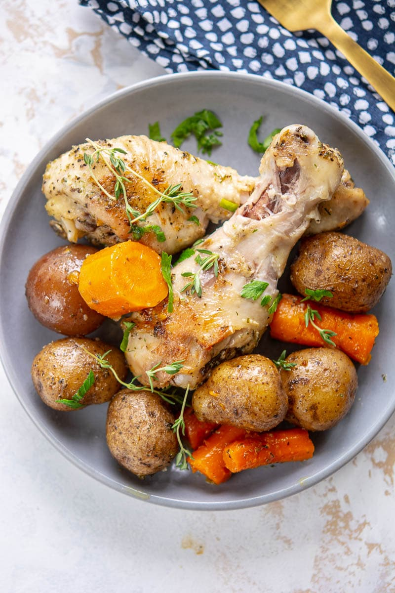 slow cooker chicken and potatoes on a plate