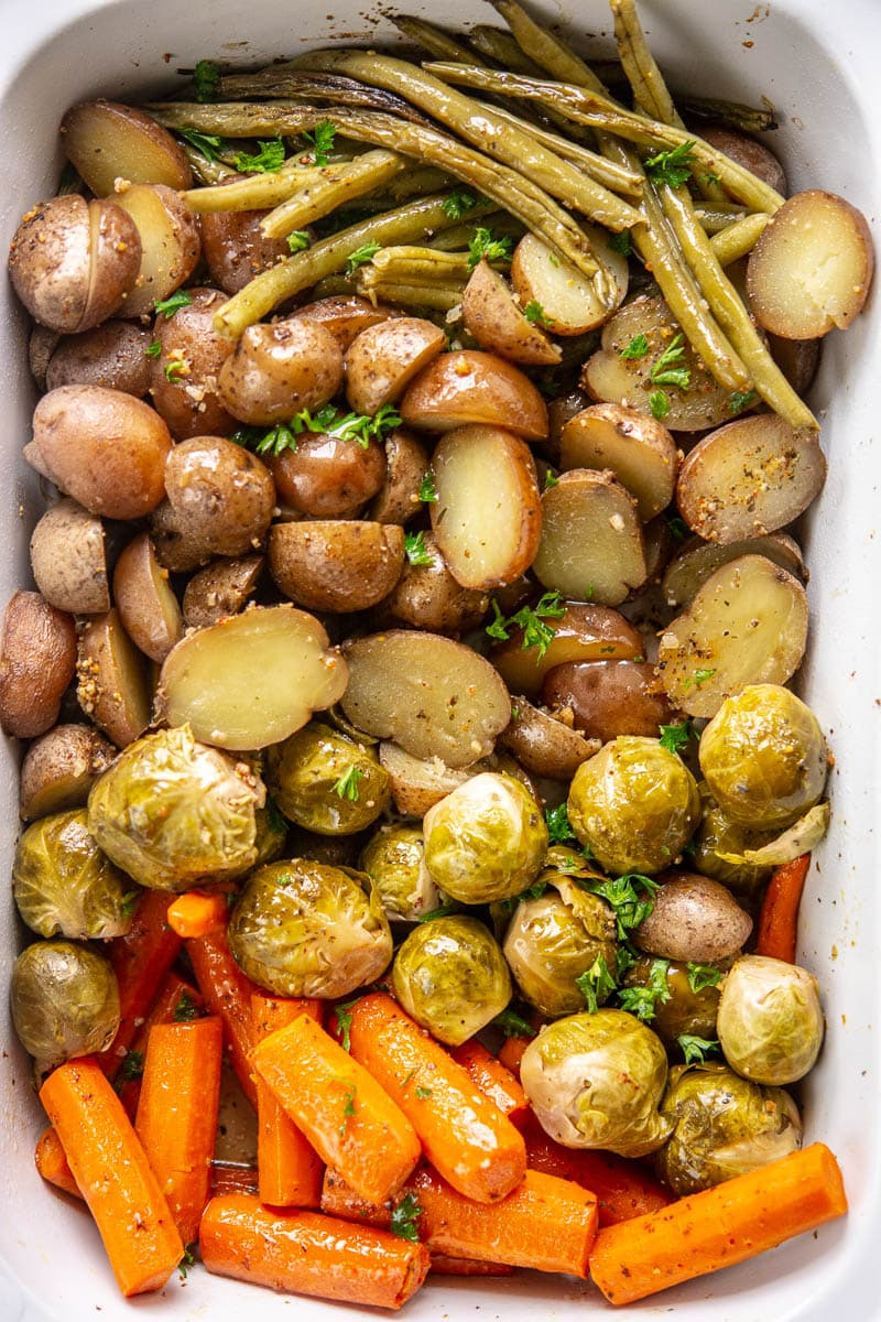 roasted fall veggies in a slow cooker