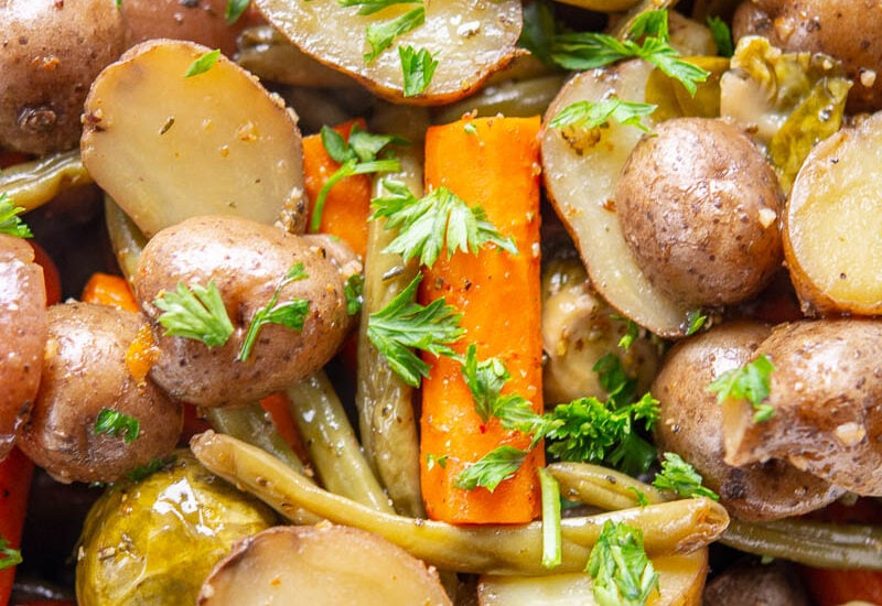 slow cooker roasted fall vegetables