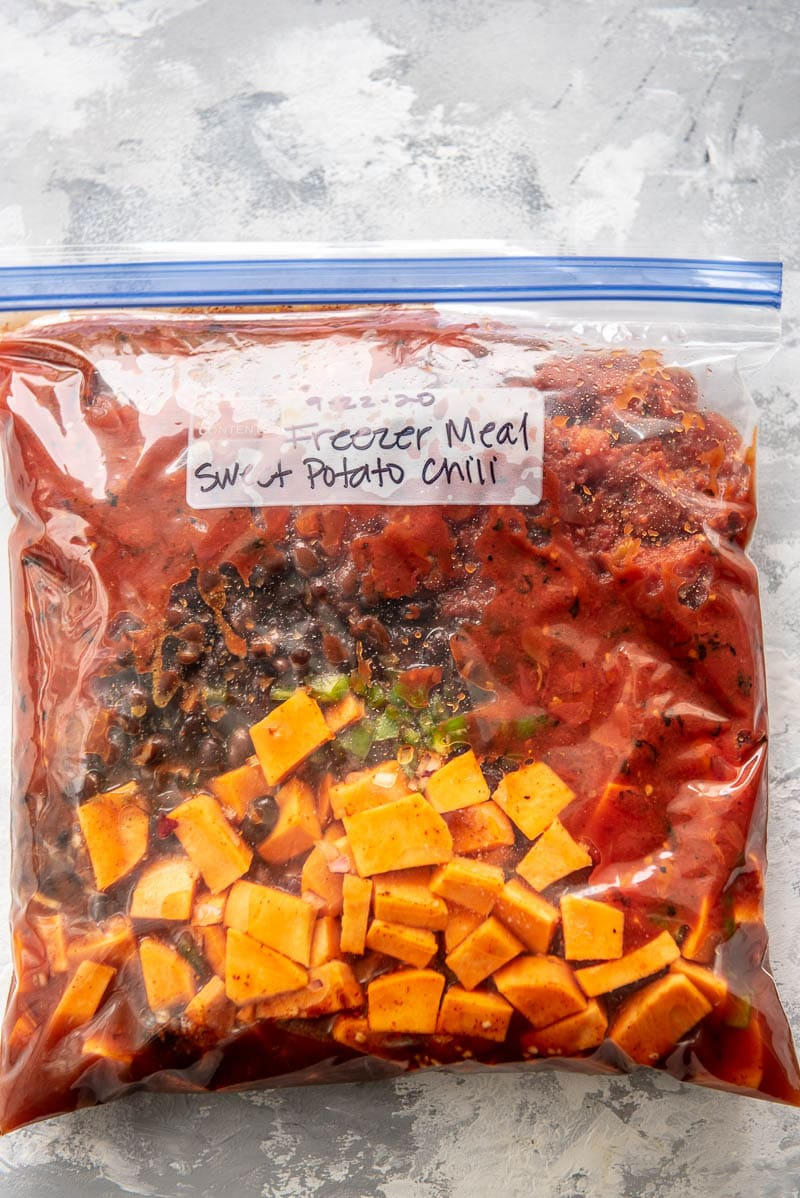 sweet potato chili ingredients in a freezer bag