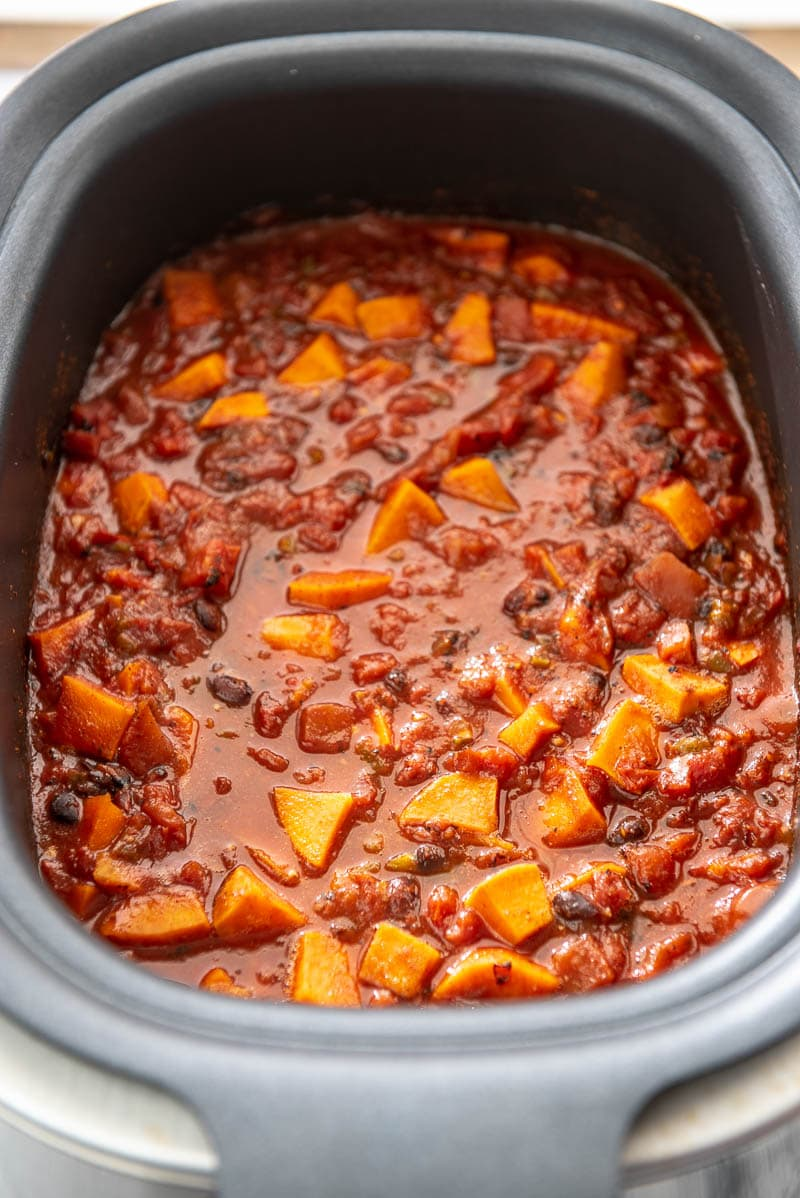 sweet potato chili in a slow cooker