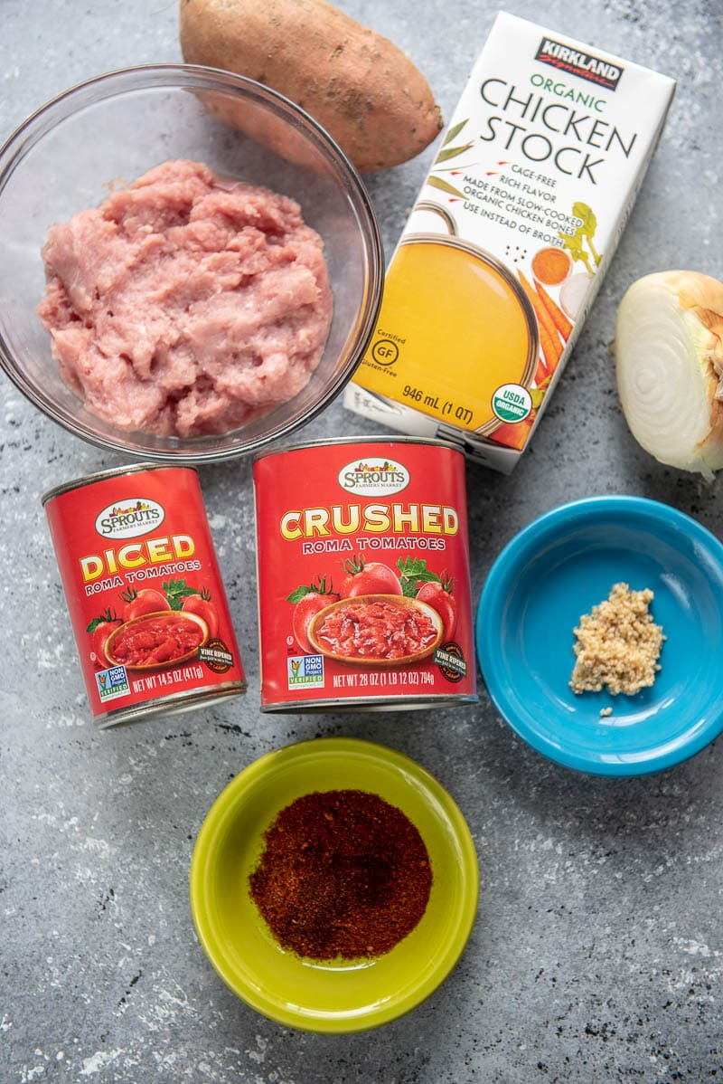 ingredients for sweet potato and turkey chili
