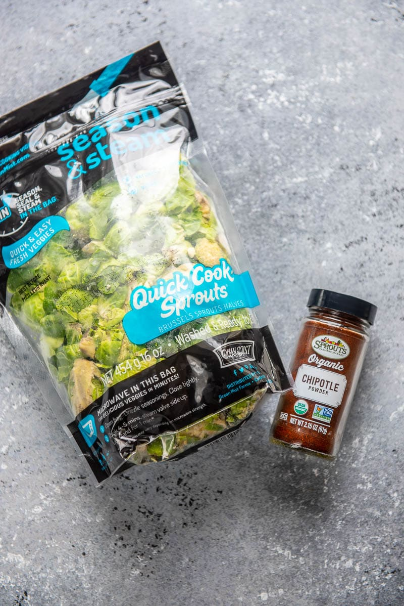 bag of brussels sprouts and chili powder