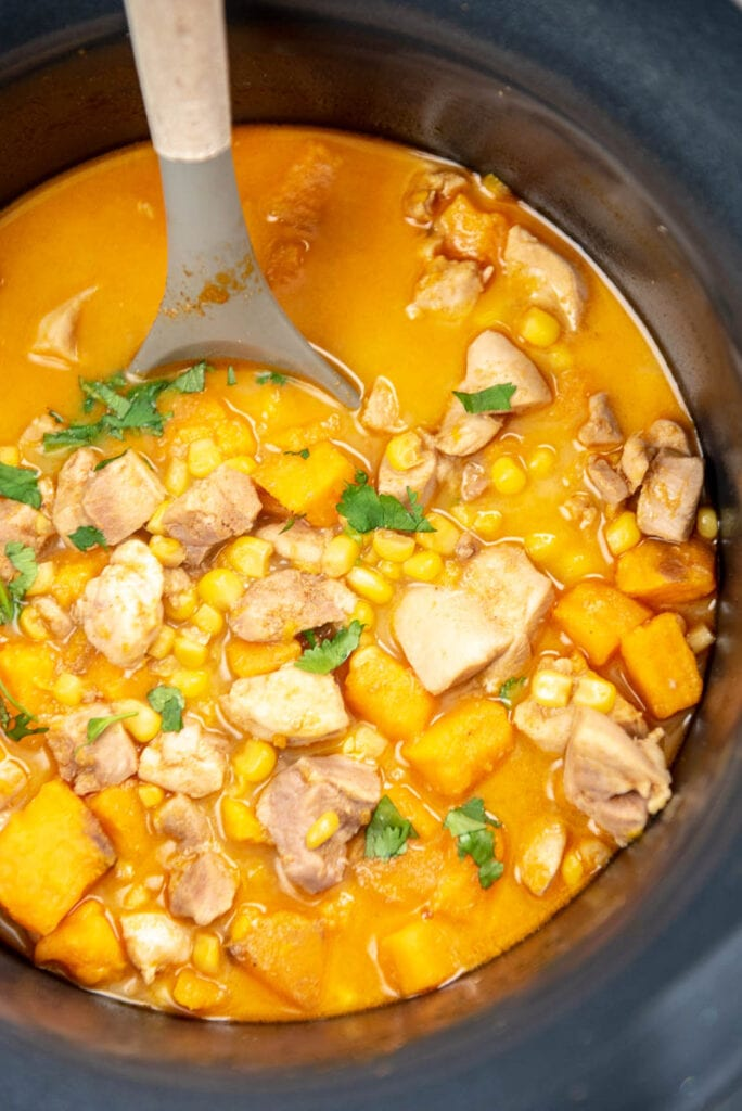 chicken corn and sweet potato chowder in a slow cooker