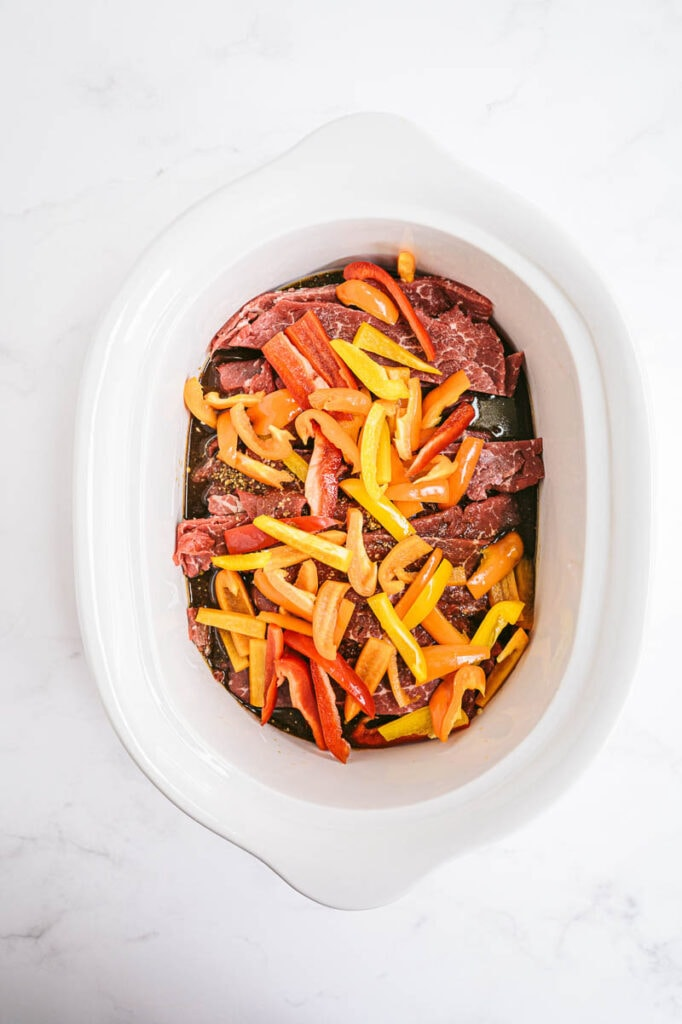 steak and peppers in slow cooker