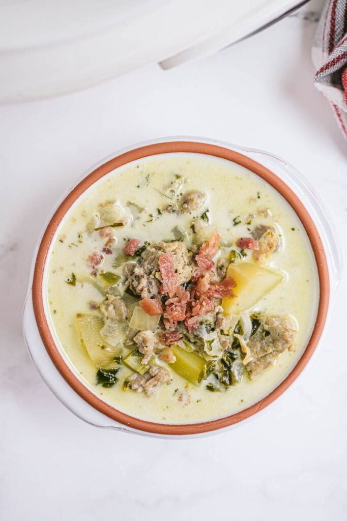 overhead shot of zuppa toscana in a bowl