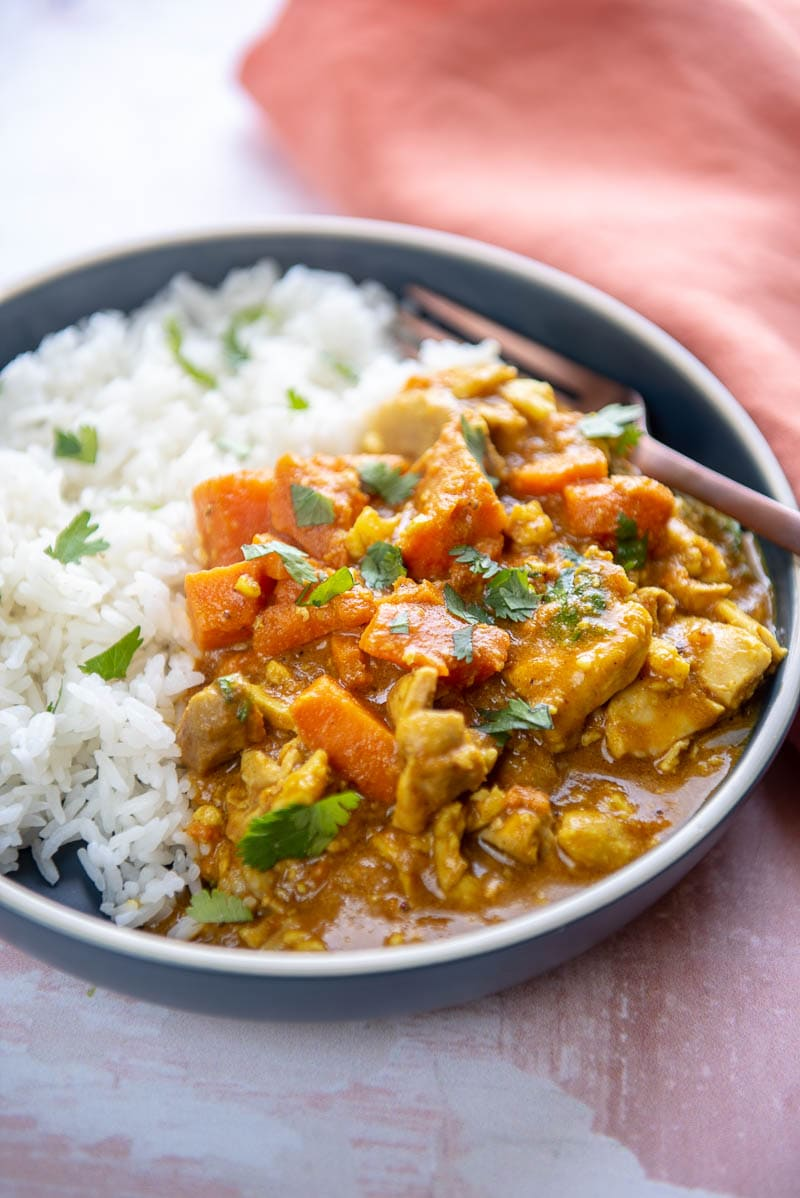 blue plate filled with steamed white rice and chicken korma in sauce topped with cilantro