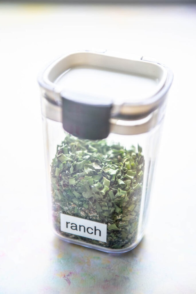 container filled with ranch seasoning
